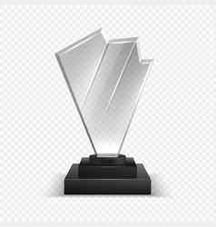 Transparent trophies realistic 3d championship vector