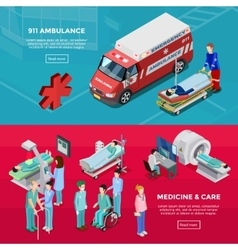 Two Isometric Hospital Horizontal Banners vector