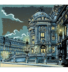 vintage hand drawn view opera in paris vector image