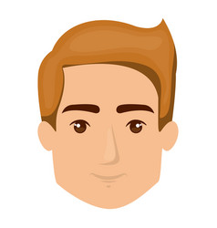 White background of man face with light brown hair vector