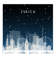 Winter night in zurich night city in flat style vector