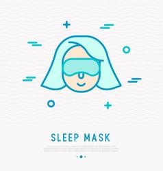 Woman in sleep mask thin line icon vector