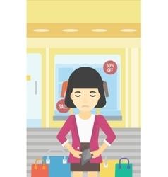 Woman showing epmty wallet vector
