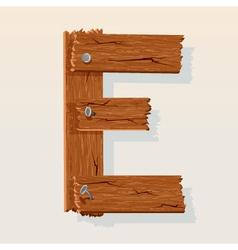 Wooden letter e vector