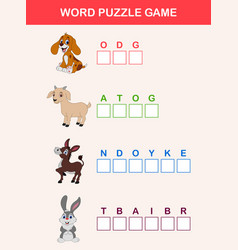 Words puzzle children educational game vector