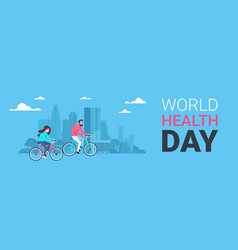 World health day poster with couple riding bike vector