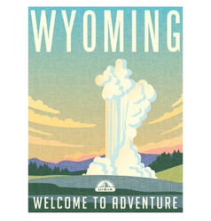 Wyoming yellowstone park travel poster vector