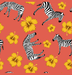 zebra yellow hibiscus red background vector image