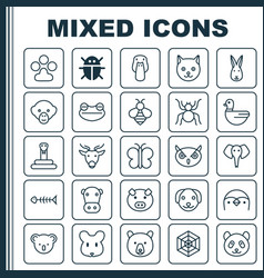 Zoology icons set collection of spider trunked vector