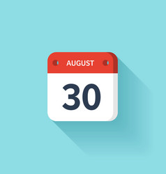 August 30 Isometric Calendar Icon With Shadow vector image vector image