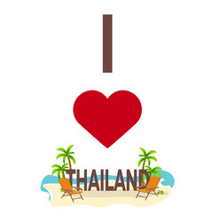 i love thailand travel palm summer lounge vector image