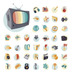 icons vintage set flat for leisure vector image vector image