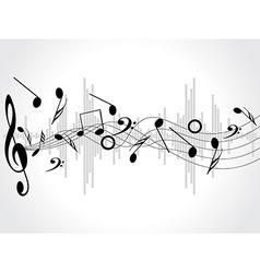 Music background with different notes on the white vector image