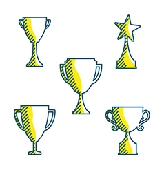 Trophy cup icons variable line flat design style vector image vector image