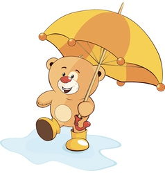 A bear cub and an umbrella vector image vector image