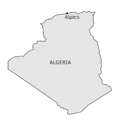 Algeria silhouette map with Algiers capital vector image