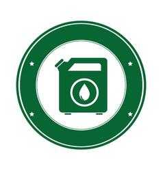 color circular emblem with bio fuel container vector image vector image