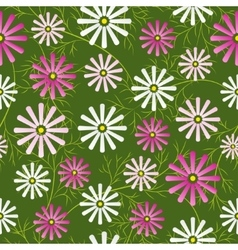 Cosmos flowers field seamless pattern vector image vector image