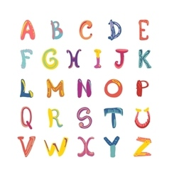 Hand-drawn cute funky alphabet Children font on vector image vector image