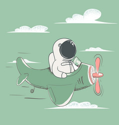 Happy astronaut flying on the plane in sky vector