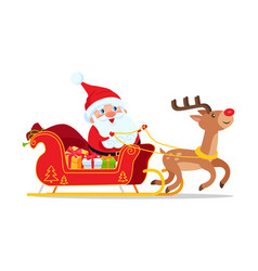 santa riding in sleigh with reindeer animal vector image