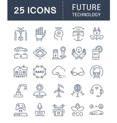 Set Flat Line Icons Future Technology vector image