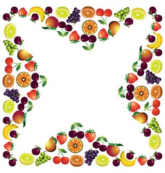 Fruits frame made with different fruits healthy vector image vector image