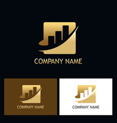 gold business finance progress logo vector image
