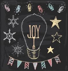 Hand Drawn Chalk Christmas Holiday Elements Set vector image
