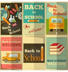school posters set vector image