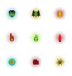 Shooting paintball icons set pop-art style vector