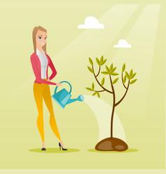 woman watering tree vector image vector image
