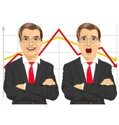businessmen with line graphs vector image