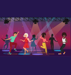 cartoon multi ethic people dancing in vector image vector image