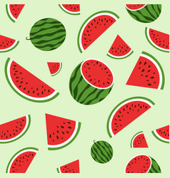 red watermelon seamless pattern summer vector image vector image