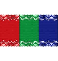 set of three knitted christmas backgrounds vector image