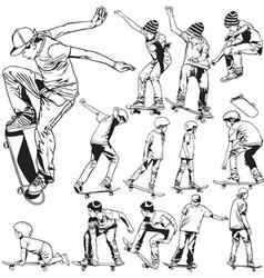 Skateboarding drawings vector image