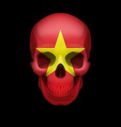 Vietnamese flag skull vector