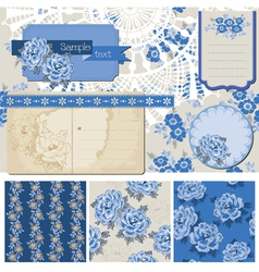 Vintage Blue Flowers vector image