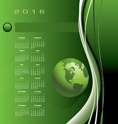 2016 calendar globe binary vector