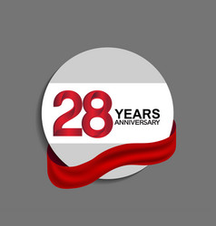 28 years anniversary design in circle red ribbon vector