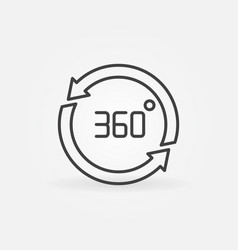 360 degree arrows outline concept icon vector image