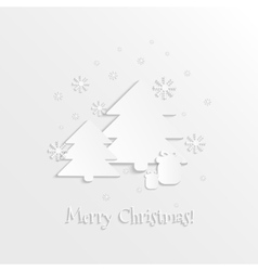 3D paper spruces snowflakes and gift boxes vector