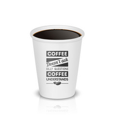 3d realistic white paper disposable cup vector