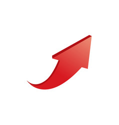 3d red arrow up isolated on white background vector image