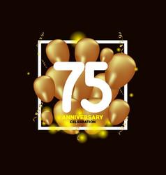 75 year anniversary white gold balloon template vector