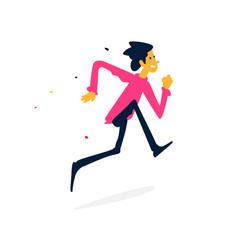 a cheerful man running cartoon flat style vector image