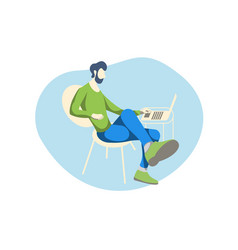 a man with a beard and a laptop doing business vector image
