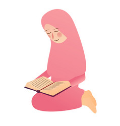 A muslim girl read quran islam vector