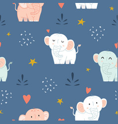 Adorable little elephant seamless pattern vector